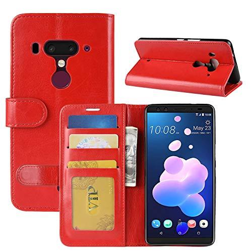 HualuBro HTC U12 Plus Hülle, Retro Leder Brieftasche Etui LederHülle Tasche Schutzhülle HandyHülle [Standfunktion] Handytasche Leather Flip Hülle Cover für HTC U12+ / HTC U12 Plus - Rot