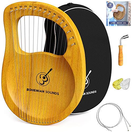 Lyra Harp 16 Strings - Premium Mahogany Wood Bone Saddle Ancient Greece Style Lyre Harp with Tuning Wrench and Instruction Guide - EXTRA Set Of Strings