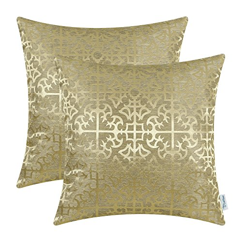 CaliTime Kissenbezüge Kissenhülle Packung mit 2 Dekokissenbezüge Cases für Couch Sofa Home Decor Vintage Glänzend & Matt Kontrast Kreuz Blumen Gitter Geometrische Figur 45cm x 45cm Gold