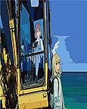 babero punto de cruz -Hermosa linda chica anime juego de dibujos animados pintura al óleo estilo de dibujo- punto de cruz niñas set punto de cruz tela punto de cruz blanco cuadros de punto de cru