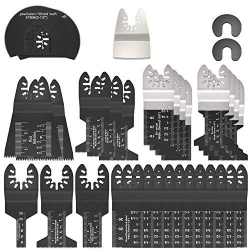 31PCS Outil multifonction lames de scie oscillantes, Accessoires outils oscillants multifonctions, Lame de scie universelle pour Bosch Dewalt Makita Couper les coins de bois carrelage clou