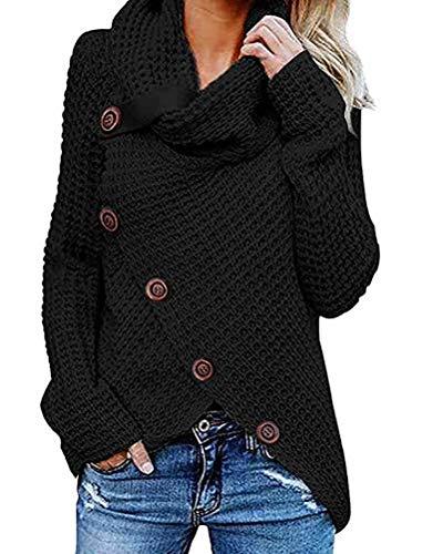 Jerseys De Punto para Mujer Cuello de Tortuga Manga Larga Suelto Prendas de Punto Suéter Irregular Jerséis Collar de la Pila Tops Cálido Otoño Invierno riou (z-Black, XXXL)