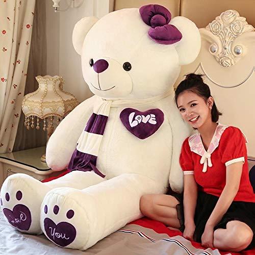 ahzha Kreative Neue Teddybär Puppe Plüsch Spielzeug große Panda Puppe Weihnachten 80 cm flach liegend Lächelnder Bär Lila