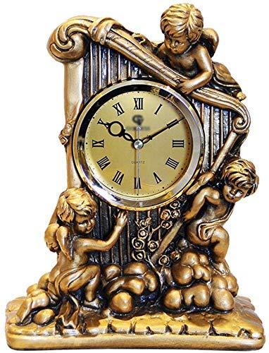 LHQ-HQ Reloj de escritorio retro europeo silencioso para sala de estar/dormitorio, decoración en forma de ángel (color dorado)
