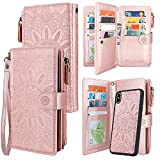 Harryshell Detachable Magnetic Zipper Wallet Leather Case Cash Pocket with 12 Card Slots Holder Wrist Strap for iPhone Xs Max 6.5 inch Floral Flower (Rose Gold)