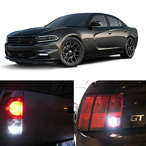 LEDpartsNow WHITE LED Exterior Back Up Reverse Lights Replacement for 2011-2016 Dodge Charger (2 Bulbs), 3156 3157 4157 3056 4056 3156LL 3156S 3156K 3456 3456LL