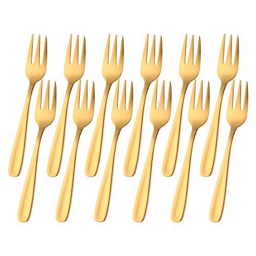 Juego de 12 tenedores de postre Baikai de acero inoxidable 18/10 con acabado de degustación para cócteles, mini tenedores de ensalada y fruta, 14 cm (dorado)