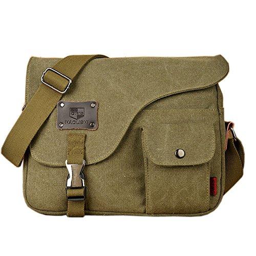Owbb Retro Herren Boy Leinwand Umhängetasche Rucksack Größe:31 * 23 * 7cm (BDJM-02) +2 gratis Geschenke