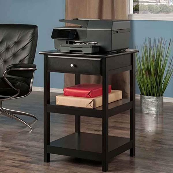 Printer Stand With Drawer And 2 Open Shelves Fax Machine Table Cart Desk Wooden Printer Stand Cabinet For Scanner Machine Wood Cart Management Office Organizer Functional Contemporary Black
