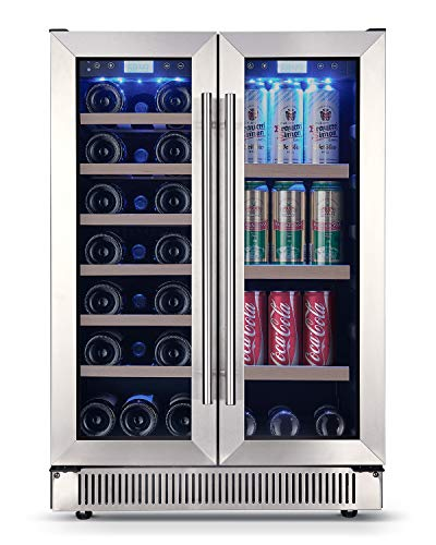 Amaste Wine and Beverage Fridge, 24 Bottles + 96 Cans Dual Zone Wine Beverage Cooler, 24'' Wine Beverage Refrigerator with Independent Temperature Control, High Efficiency Compressor, Blue LED Light, Wooden & Glass Rack Shelves and Touch Control - MWC54BC