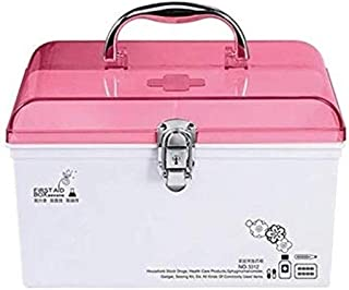 AINIYF Multi-Layer First Aid Kit for Medical Use, Medicine Storage Box, Portable Medicine Box with Safety Lock Kit (Color : Pink, Size : 25x15.4x15.7cm)