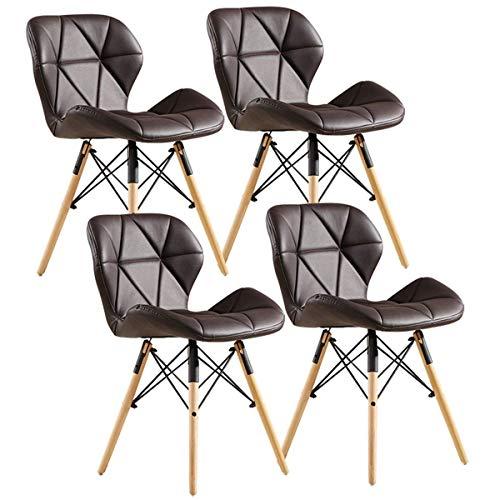 HYZXK Juego de 4 sillas de Comedor Retro Patas de Madera Maciza Natural Asiento Acolchado con Respaldo Silla de Cocina para Comedor de Oficina (Color: Marrón, Tamaño: B)