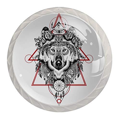 Xingruyun Pomo Puerta Armario Decorativos Antiguo Alacena para Muebles Triángulo de Lobo...