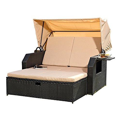 Melko Sonnenbett/Strandkorb/Lounge aus Polyrattan, Schwarz, inkl. klappbaren Seitentisch +verstellerbarer Rückenlehne + Faltbare Sonnenschutzdach