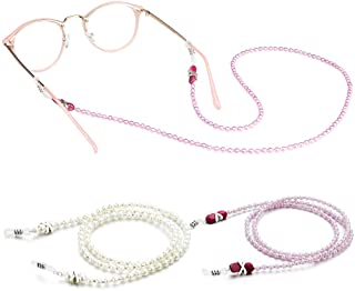 [2 Pack] Pearl Eyeglasses Holder Strap Cord, Tomorotec Eyeglass Retainer, Premium Pink Beaded Eyeglasses String Holder Chain Necklace, Glasses Cord Lanyard with Free Microfiber Cleaning Cloths