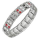 Feraco Magnetic Bracelets for Mens Arthritis Pain Relief Sleek Titanium Stainless Steel Double-Row 4 Elements Magnets Bracelet