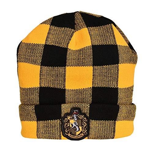 Berretto di Harry Potter con licenza ufficiale Patch stemma di Tassorosso sulla busta doppio strato, con motivo a quadri vichy Un formato Colore giallo, nero