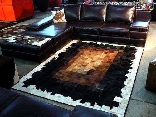 Vip-leather NEU KUHFELL Patchwork Teppich (150 cm x 210 cm)