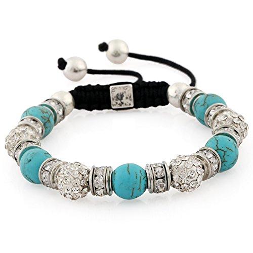 Morella® Damen Armband Schmucksteine und Zirkonia Strass verstellbar Silber - türkis