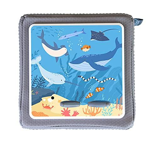 MeinBaby123 Schutzfolie für Toniebox | Schutzcover selbstklebend | Aufkleber passgenau I Folie Sticker I Toniebox Zubehör | Wal & Unterwasserwelt blau