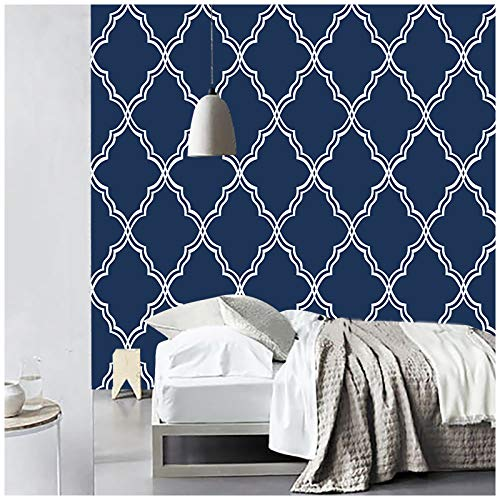 HaokHome 96025-1 Geometric Peel and Stick Wallpaper Trellies Classical Removable Navy/White Mural Home Wall Decor 17.7in x 9.8ft