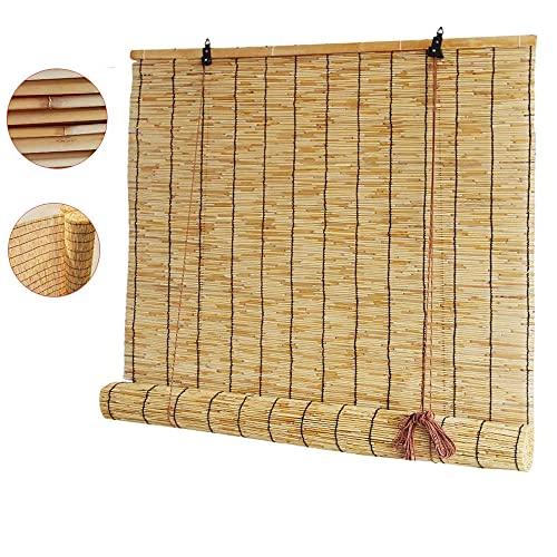 Persiana enrollable de bambú para ventana, persiana enrollable para exteriores, protección de la privacidad, cortina romana natural, parasol con elevación, para cocina, pérgola, jardín decorativo
