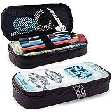 Besugo o lubina dibujados a mano Conjunto de estandarte de mariscos Pu Funda de lápiz de cuero Bolsa con cremallera Caja de bolígrafos linda Papelería