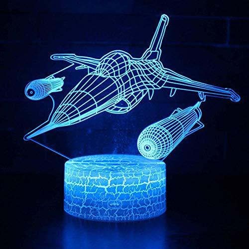 LED-tafellamp met 3D-licht met afstandsbediening voor vliegtuig, tafellamp, Illusion Night Light 7 kleuren veranderen de stemming lamp batterij lamp usb-6_touch 3 kleuren alleen met acryl