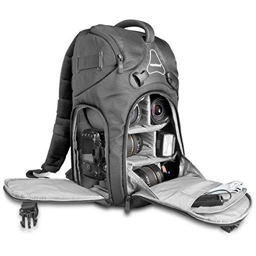Mantona Rhodolit - Mochila para cámara SLR (impermeable, relleno transpirable AirMesh, correa...