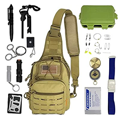 Gearrific Cross-Body Outdoor Survival Bag Pre-Filled with Emergency Survival Tools from Gearrific
