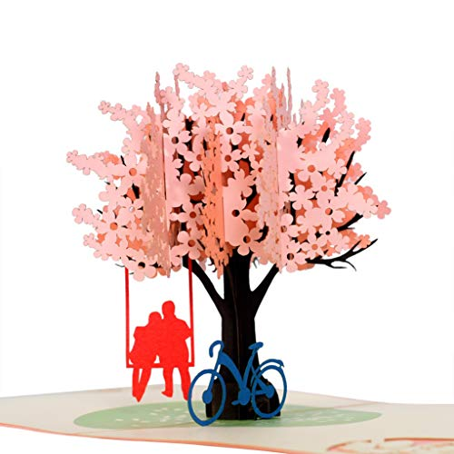バースデーカード ポップアップカード グリーティングカード 桜 ポストカード メッセージカード 3D立体 誕生日カード 誕生日カード 結婚式 母の日 記念日 新年 バレンタインデー カップルと桜の木 結婚祝い 感謝状 可愛い手紙 プレゼント 封筒付き