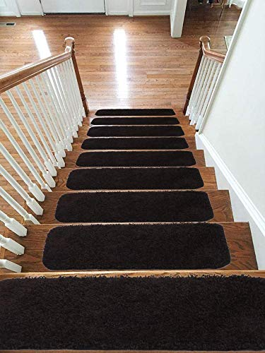 Soft Shaggy Carpet Stair Treads NON-SLIP MACHINE WASHABLE Mats/Rugs, 22x67cm, 30mm Thickness (Brown, 13)