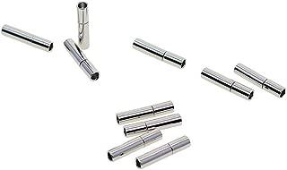 SGerste - Juego de 10 cierres de botón de bayoneta para cable de cuero redondo de 2 mm con enganche en hebilla, cierre magnético, chapado en plata, 14 x 3 mm
