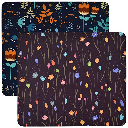 Pack of 2 Unique Rectangle Mouse Pad with Non Slip Rubber Base, Comfortable Computer Mouse Pad for Laptop, Pain Relief Mousepad for Office & Home, 8 x 7 inches (Black Velvet)