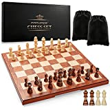 """15"""" Chess Set Board Game - Wood Sets with Storages and Extra Queens Wooden Gift for Men"""