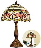 AWCVB Vidrio Coloreado Estilo Base De La Lámpara De Mesa Tiffany Antigua Oficina De Aleación Ligera Sombra por Noche Estancia Novia