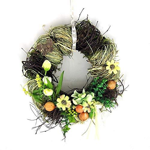 Small-Preis Türkranz Wandkranz Wanddeko rund Frühling mit Blume ø 28 cm Frühling - Sommer - Herbst Willkommensgruß 981