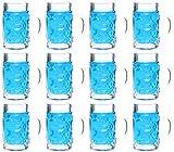 idea-station Boccale da Birra Bicchieri da 12 Pezzi 4 cl (40 ml), Riutilizzabile Trasparente, Mini Boccale da Birra, Mini-Mug, Stamper, Bicchieri sparatutto, Bicchierini per liquore