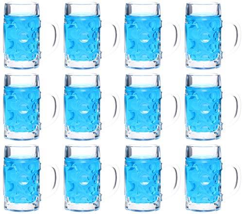 idea-station Vasos Tipo Jarra de Cerveza 12 Piezas 4 cl (40 ml), Reutilizables, Mini Jarra de Cerveza, Mini-Taza, Sello, Vasos de Tiro, Vasos para Licor, Tequila, Ginebra, Brandy de Frutas, Vodka