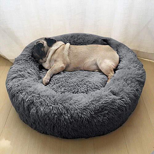 Haustierbett Hundebett Katzenbett Rund Weich und Weich für Haustiere/Welpen/Haustier/Katzenbett in Doughnut-Form (50cm dunkelgrau)