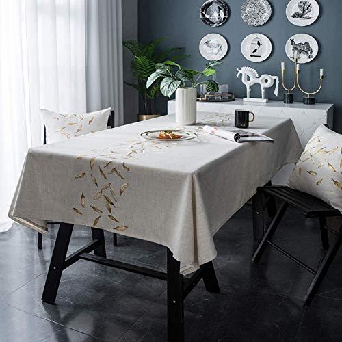 mxjxj Tischdecke wasserdichte Tischdecke Wipe Clean Tischdecke Rhombus Stickerei Tischdeckel Nordic Einfacher Stil Geeignet für Innen- und Außenbereich (Color : 135+#215;160cm, Size : Golden Leaf)
