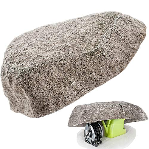 Imitation of Large Boulder For Garden and Landscape Decoration Idea - Artificial, Fake Stone For Back Yard Design - Big Faux Rock, Hollow Inside To Hide Utilities (XL-04, Grey)