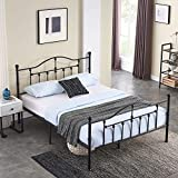 VECELO Full Size Bed Frame Metal Platform Mattress Foundation/Box Spring Replacementwith Headboard & Footboard/Easy Assemble,Black