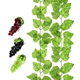 HUIANER 3 Bunches of Fake Grapes Simulation Fruit with Artificial Vines Lifelike Leaves for Wedding Home Indoor Outdoors Party Garden Wall Decoration