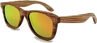 Fashion Vintage Rivet Decoration Natural Zebra Wood Sunglasses Polarized Lens UV Protection for Men Women Retro (Color : Orange)