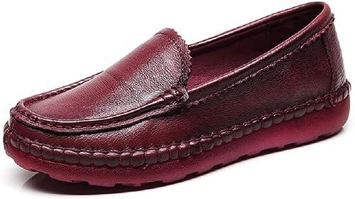 ZHRUI zapatos Planos de Cuero con Cordones Mary Jane para mujer (Color   rojo, tamaño   EU 36)
