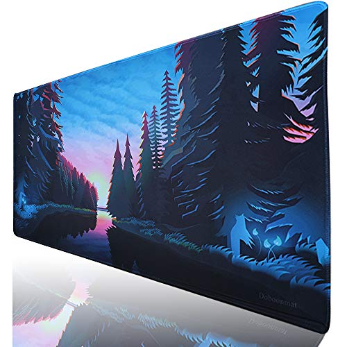 Duboonmat XXL Gaming Mouse Pad Large Desk Pads Protector 35.4x15.7IN & Non-Slip Smooth Desk Mat Blotter Comfortable Writing Surface (90x40 luori)