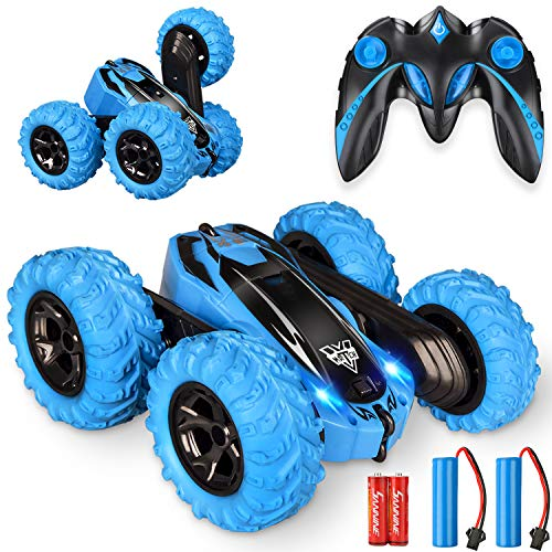 KKONES Remote Control car,2.4GHz Electric Race Stunt Car,Double Sided 360° Rolling Rotating Rotation, LED Headlights RC 4WD High Speed Off Road for 3 4 5 6 7 8-12 Year Old Boy Toys