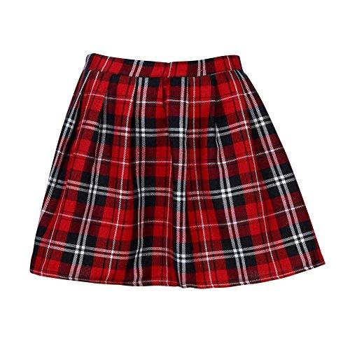 Mujer Falda Corta Con Pliegues,Logobeing Mini Falda Mujer Plisada Escocesa Elegante Alta Cinturilla Colegiala Uniforme Escolar Plisado Falda Algodón Tartán (S, Rojo)