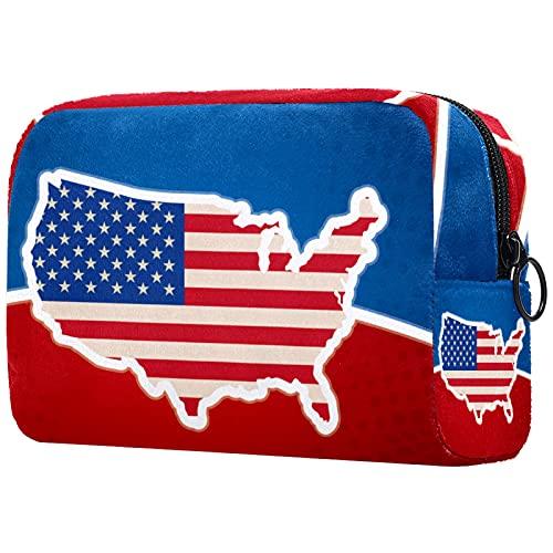 FURINKAZAN Bolsa de maquillaje de viaje de la bandera del mapa americano de los E.E.U.U. para el bolso de los artículos de tocador bolsa de maquillaje hombres